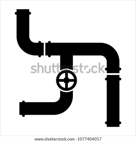 Pipe Icon, Pipe Fitting Icon Vector Art Illustration
