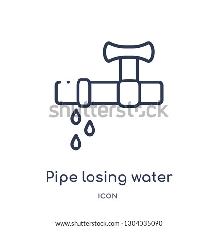pipe losing water icon from tools and utensils outline collection. Thin line pipe losing water icon isolated on white background.