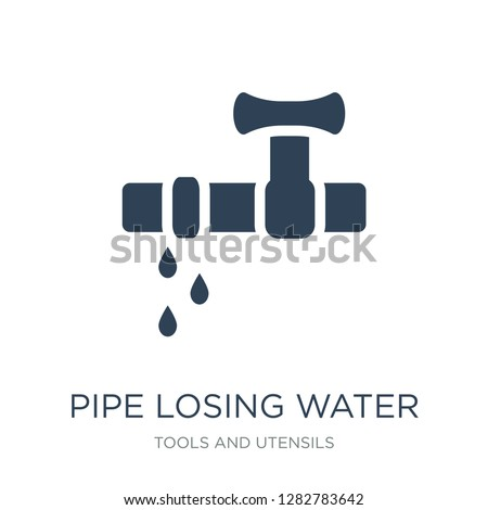pipe losing water icon vector on white background, pipe losing water trendy filled icons from Tools and utensils collection, pipe losing water vector illustration