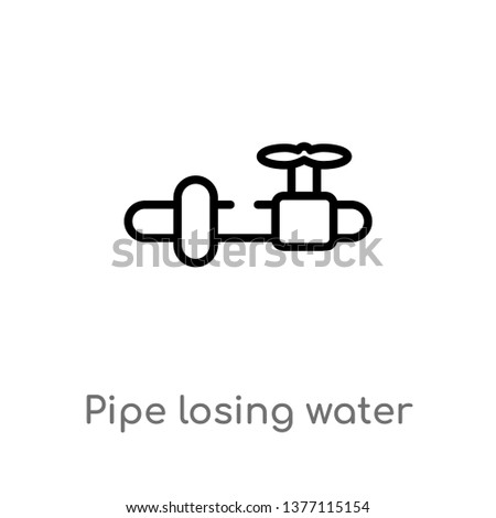 pipe losing water vector line icon. Simple element illustration. pipe losing water outline icon from tools and utensils concept. Can be used for web and mobile