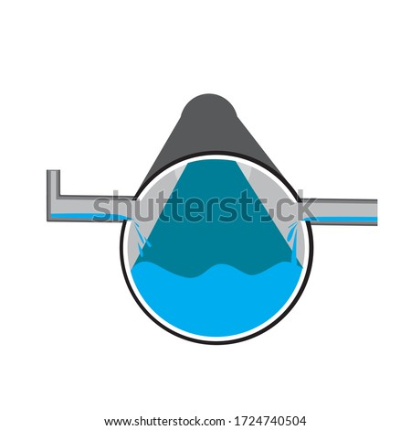 Pipe or piping system with water as a concept of water drain and sewage. Stock vector flat illustration with pipes and water supply isolated on a white background for design