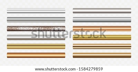 Pipe set isolated on transparent background. Chrome, steel, golden, copper and rusty iron pipes profile. Vector cylinder metal tubes.