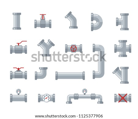 Pipe steel and plastic connectors, water tubes. Plumbing, pipeline parts and valves, industrial drainage system vector flat icons. Plumbing tube, connector pipeline, pipe for water, valve connection