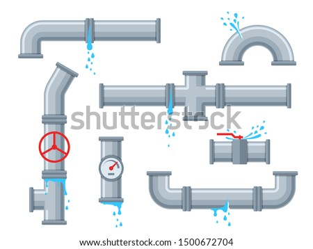 Pipe with leaking water. Broken pipes with leakage, plastic pipeline rupture. Dripping drain faucet, water supply problems vector brokenness piping design set