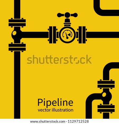 Pipeline background black silhouette. Pipe system with valves for water of gas oil. Vector illustration flat design. Isolated on yellow industrial background.