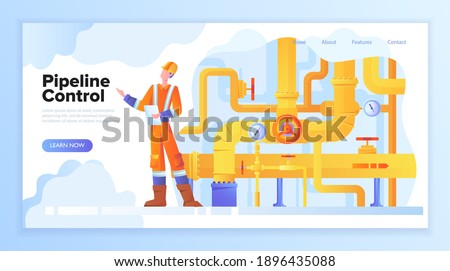 Pipeline concept. Gas or oil production operator in workwear standing near pipe valve. Yellow oil or gas pipes, manometer, valves. Flat vector illustration. Website, webpage or landing page template