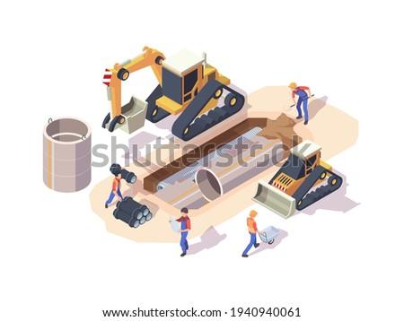 Pipeline installation. Urban work machine industrial steel pipe installation processes garish vector 3d isometric illustrations Photo stock ©