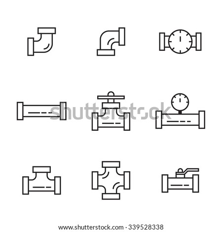 Pipes and fittings, tap. Vector icons lineart. Sewage and Drainage