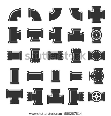Pipes, fittings and valves icon set. Concept of tube industry, construction pipeline or drain system. Details pipes different types. Vector illustration. EPS 10.