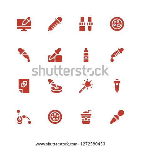 pipette icon set. Collection of 16 filled pipette icons included Dropper, Straw, Petri dish, Graphic design, Pipette, Magic tool