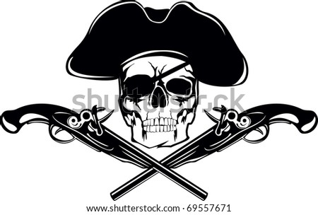 piracy flag with  skull and