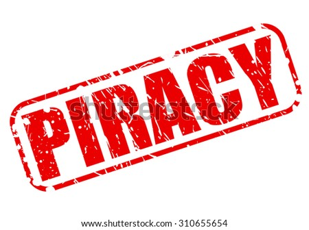 piracy red stamp text on white