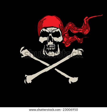 Piracy symbol in a red scarf.