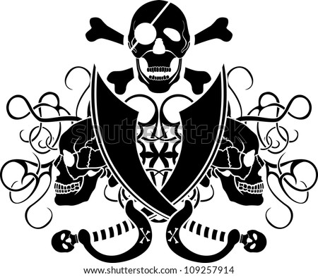 piracy tattoo skull vector illustration for web