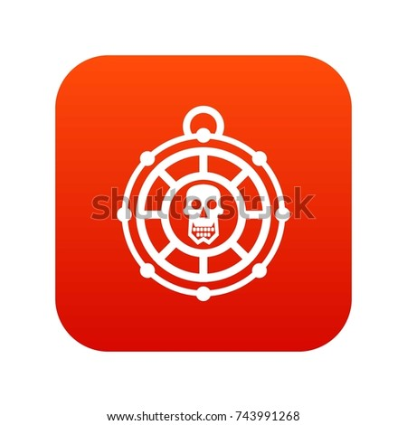 pirate amulet icon digital red