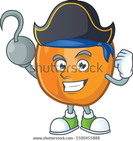 Pirate apricot cartoon character for nutritious maskot