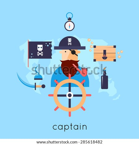 pirate at the helm of the ship