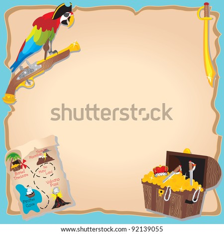 Pirate Birthday Party  and treasure hunt Invitation with peg legged parrot, map and chest