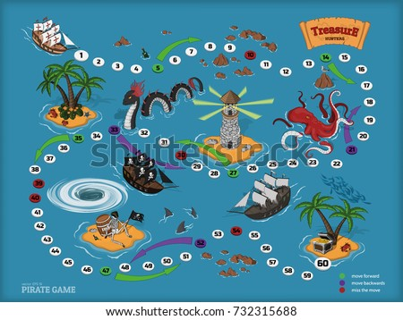 Stock Photo Pirate board game for children. Map of the treasure hunter. Corsair ship and sea monsters in isometric style. Chest of gold on tropical island. Vector illustration