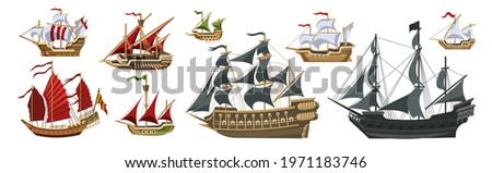 Pirate boats and Old different Wooden Ships with Fluttering Flags Vector Set Old shipping sails traditional vessel pirate symbols garish vector illustrations collection set  Stockfoto ©