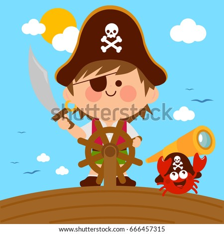 pirate boy captain sailing on