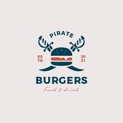 Pirate Burgers logo design vector illustration