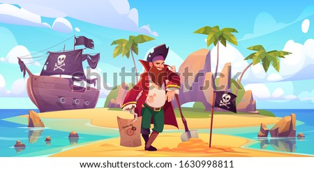 Pirate buried treasure chest on island beach. Vector cartoon character with hook, wooden leg and beard in sailor costume. Illustration of tropical island, pirate ship, capitan and flag with skull