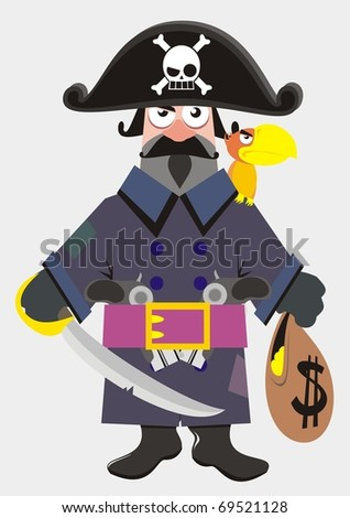 Pirate captain cartoon colorful vector illustration