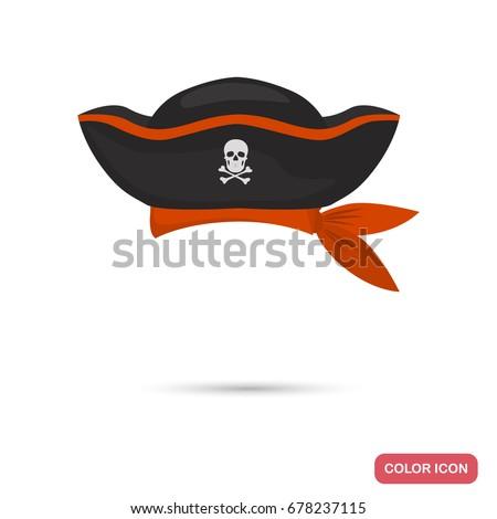pirate captain hat color flat