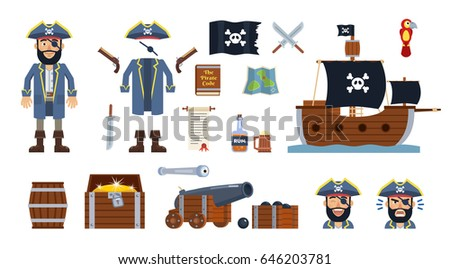 Pirate captain with diverse pirate icons, elements. Hat, clothes, flag, ship, sword, pistol, cannon, treasure map, chest, barrel, scroll and other icons. Simple vector illustration