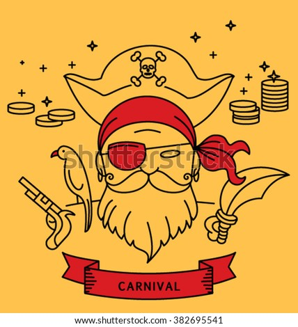 PIRATE CARNIVAL COSTUME OUTFIT. Party portrait, line art such as logo, monoline style. Editable vector illustration file.