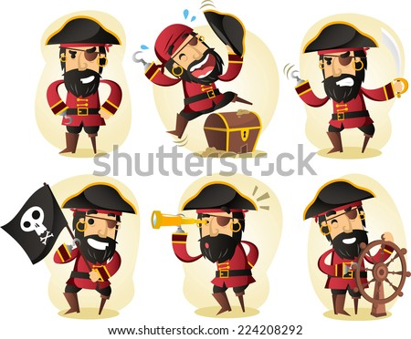 pirate cartoon set
