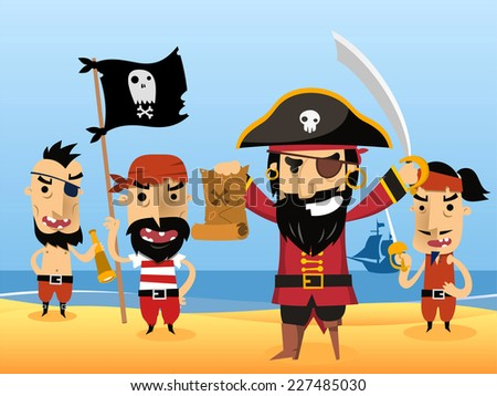 pirate characters with flag