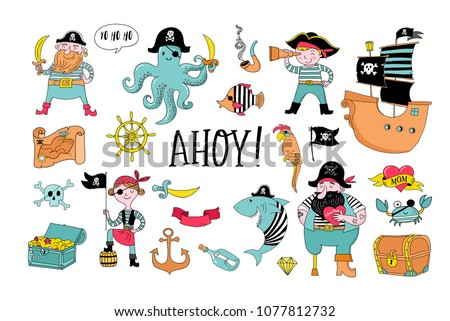 Pirate collection of hand drawn characters and icons, birthday concept party