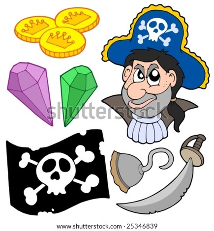 Pirate collection 5 on white background - vector illustration.