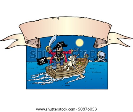 Pirate, Dog & Rowboat - stock vector