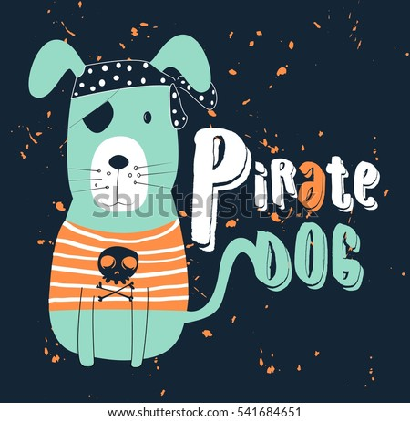 pirate dog  t shirt graphics