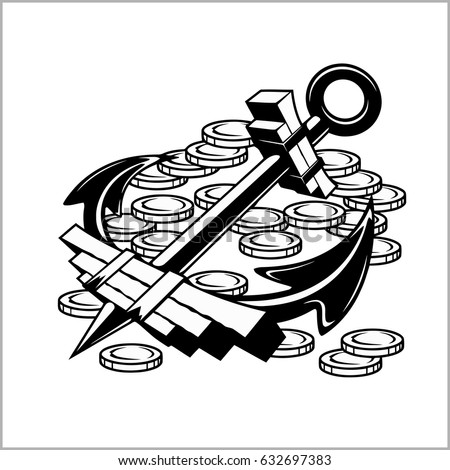 pirate emblem   anchor and coins