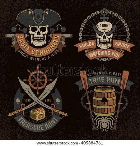 pirate emblem with skulls and