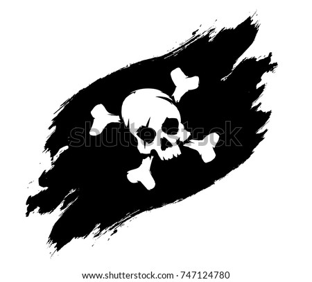 pirate flag grunge illustration