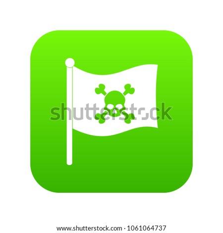 pirate flag icon digital green