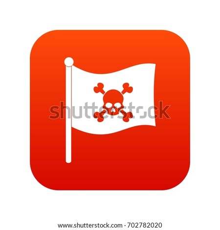 pirate flag icon digital red