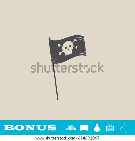 pirate flag icon flat grey