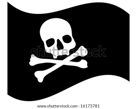 pirate flag with skull vector illustration - stock vector