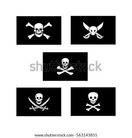 pirate flags vector set