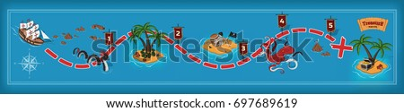Pirate game in cartoon style. Seascape with a path image. Mobile interface with island and monsters: sea serpent, kraken. Vector illustration