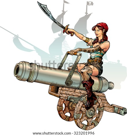 pirate girl sitting on cannon