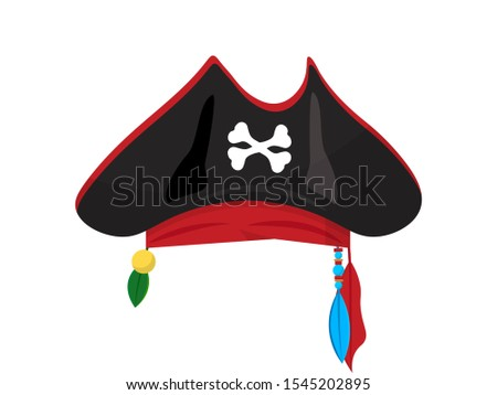 Pirate hat flat vector illustration. Buccaneer headgear with crossbones isolated clipart on white background. Masquerade costume, carnival accessory. Halloween party clothing design element