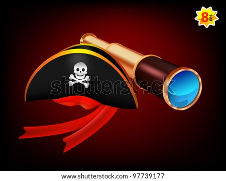 Pirate hat with skull sign and a spyglass.