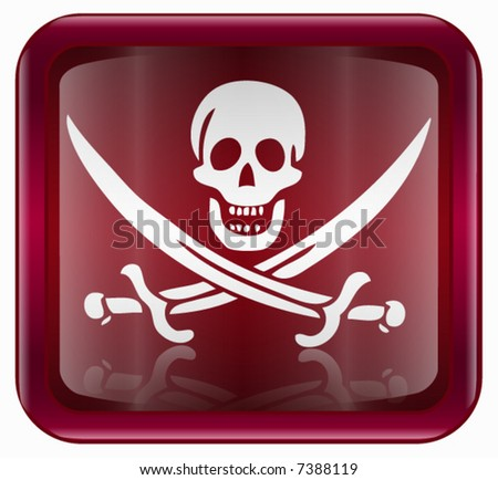 Pirate icon, red - stock vector